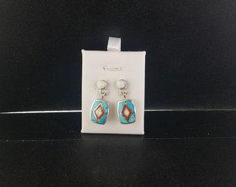 Southwestern Navajo Turquoise Spiny Oyster Australian Opal sterling silver dangle earrings