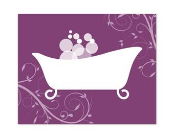 Bathroom Wall Art, Purple Bathroom Decor, INSTANT DOWNLOAD, Purple Bathtub Art, Home Decor, Bathroom Wall Decor - BATH58