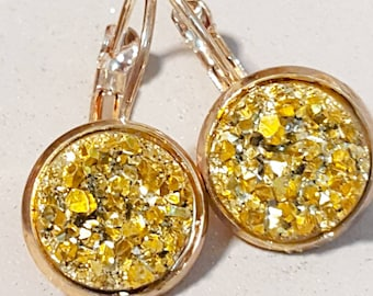 rose gold earings, rose gold dangly earings, sparkly gold, faux druzy, nickel free,rose gold dangly, glitter, faux druzy,druzy earrings,