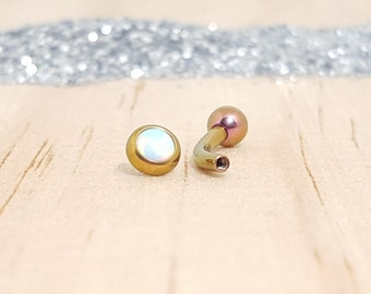 White Opal with Rose Gold Titanium Curved Barbell - Internally threaded