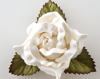 Mulberry Paper Open Roses - White  - 12 Roses x 50mm - Favour Decoration Card Craft, Scrapbooking Embellishments