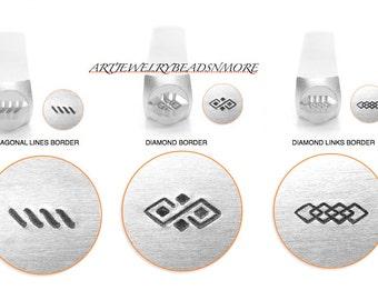BORDER Stamps, ImpressArt Diamond Link, Diamond Pattern, Diagonal Lines, Indian, Native American, SOUTHWEST, jewelry Stamps, FLOURiSH Stamps