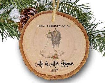 Personalized Newlywed Ornament Our First Christmas 2017 Mr. and Mrs. Ornament Bride and Groom