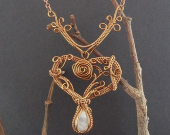 Handmade OOAK rainbow moonstone wire wrapped rose heart necklace