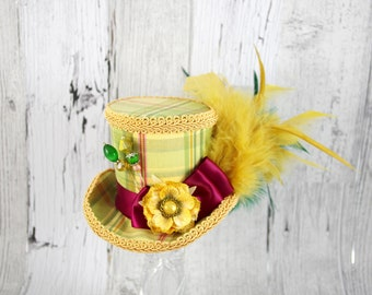 Cream, Green, Burgundy, and Golden Yellow Plaid Flower Medium Mini Top Hat Fascinator, Alice in Wonderland, Mad Hatter Tea Party, Derby Hat