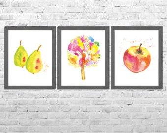 Kitchen Wall Art, Kitchen Paintings, Fruits Decor, Watercolor Print, Watercolor Painting, Fruits Art, Still Life, Set of 3 Fruits