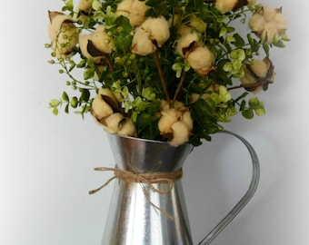 Farmhouse Tea Stained Cotton and Eucalyptus Arrangement in Galvanized Metal Pitcher