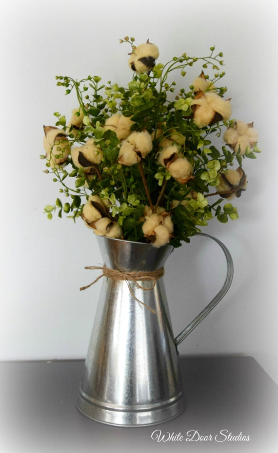 Farmhouse Tea Stained Cotton Arrangement in Galvanized Metal Pitcher