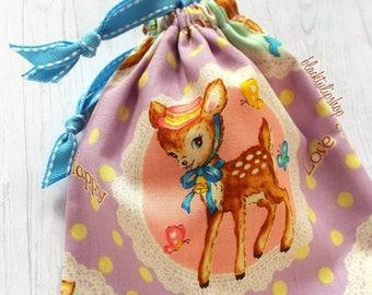 Kids Tote Bag Retro Deer Japanese Fabric Fairy Kei Pastel Pouch