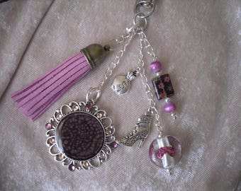 Keychain jewelry bag, pink / plum / silver, hand painted cabochon