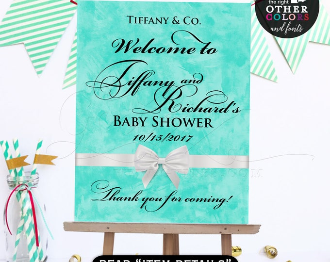 Welcome baby shower baby and co sign, printable poster banner, breakfast at blue customizable NAME/DATE ONLY!