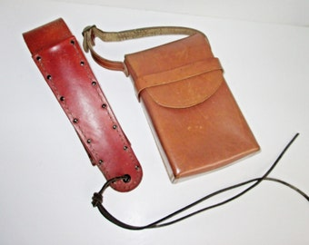 Leather Pouch Holder, Belt Knife Case, Chestnut Brown Cass Portable Travel Bag, Genuine Top Grain Leather Purse Handmade Knife Case Military