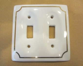 Vintage Porcelain Double Switch Plate With Gold Trim