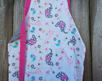 Whimsy Elephants Apron,Toddler Apron,Kids Arts and Crafts,Reversible Apron,Kids Gift Under 20,Little Girls Apron,Pink & Grey,Giraffes,Birds