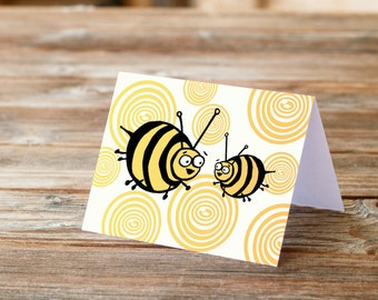 Two Bumble Bees Happy Birthday Thank you Card