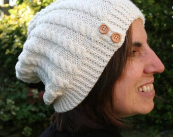 Knitting pattern for cabled slouchy hat - intermediate knitting