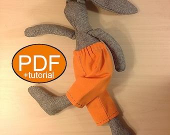 bunny pattern bunny sewing pattern tutorial PDF doll pattern stuff bunny pattern rag doll pattern cloth doll pattern stuff animal pattern