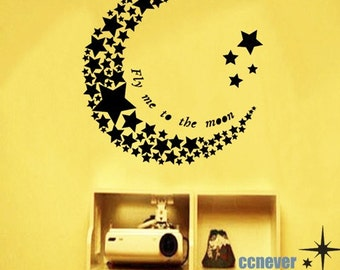 Fly Me To The Moon Stars----Graphic Vinyl wall decals stickers home decor Change Word Saying Free