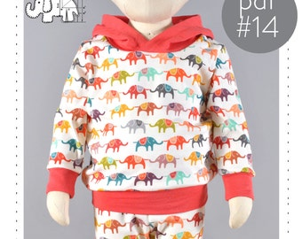 Hoodie sewing pattern pdf // sizes 0 to 6T // photo tutorial // 0M-6T // #14