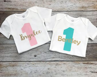 Twin First Birthday Boy/Girl Birthday Shirts with Names (Customize Your Colors), Twins First Birthday, Twin Birthday Shirts