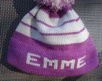 Personalized knit hat -  Emme,  Abigail, Kyleigh or Amelia