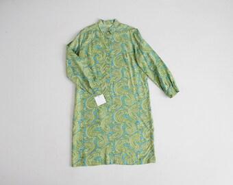 blue and green paisley dress   collared shirtdress   70s paisley dress