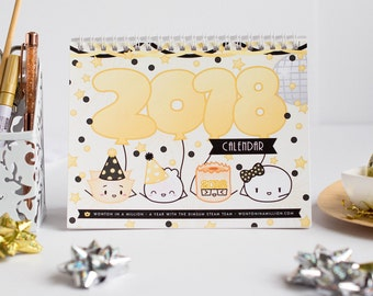 LOW STOCK // 2018 Dimsum Desk Calendar [2018 Desk Calendar, Cute Calendar, Food Calendar, Gift for Her, Gift for Coworker]