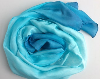 Hand-dyed Silk Scarf - Blue Ombre
