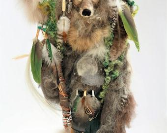 Wolf Medicine Doll- Wolf Animal Spirit Doll- Wolf Totem Animal Doll-Needle Felted Wolf- Sacred Space-Shaman Doll