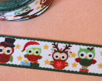 pretty White Ribbon with owls