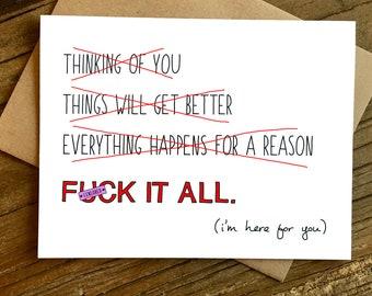 Sympathie-Karte - fühlen Sie sich besser-Karte - F * Ck It All.