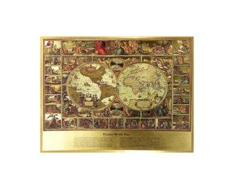 Vintage world map print gold etsy piscator old world map vinatge metal etching print 17 x gumiabroncs Images