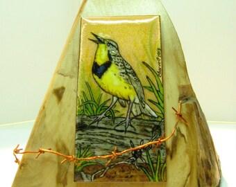 Sculpture meadow, sculpture enamel on copper Meadowlark, Meadowlark meadows, eastern meadow lark, bird, yellow bird sculpture