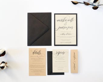 Rustic Wedding Invitation, Brown Wedding Invitation, Neutral wedding invitations, Wooden Wedding Invitations, Kraft Wedding invitation