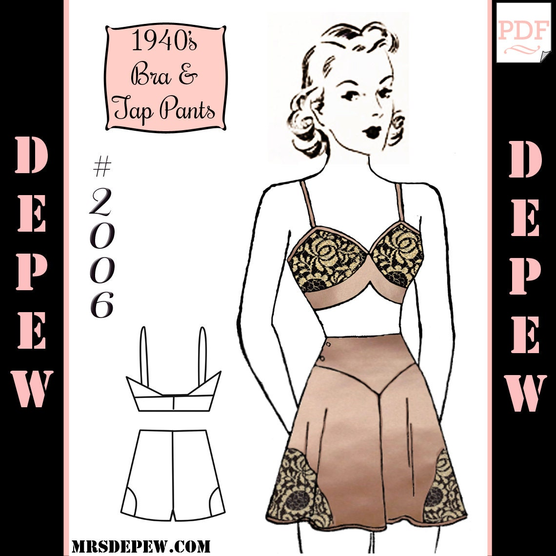 Vintage Sewing Muster 1940 Pauline passender BH und tippen Sie