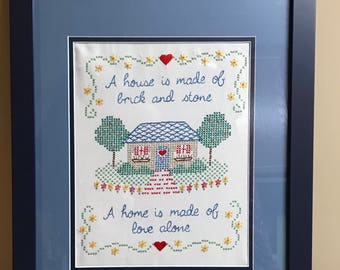 Matted and Framed Cross Stitch