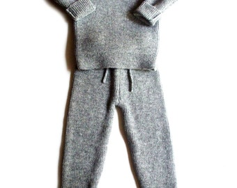 Babies/Children's knitted lambswool Sweater and Pants set /winter/pink/blue/gray/rollneck/thick/cardigan/jumper/trousers
