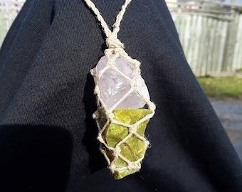 Rose Quartz & Green Serpentine Woven Hemp Necklace