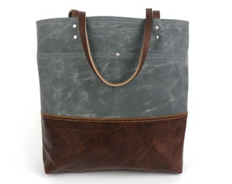 Waxed Canvas Tote, grey and brown tote, leather bottom bag, travel bag, computer tote, knitting bag, commuter bag, carryon