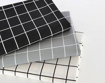Grey Black White Check Fabric, Plaid Linen Cotton Fabric, Sofa Cushion Chair Bag Fabric - Fabric 1/2 yard