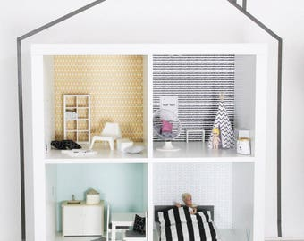 Wall decal Lille Stuba for dollhouse IKEA Kallax shelf mustard/mint (1W-SH04-04) - DIY Doll's house - Furniture not included