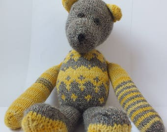Hand knitted teddy bear, soft teddy, knitted toy
