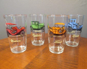 Set of 4 Hazel Atlas classic car tumblers