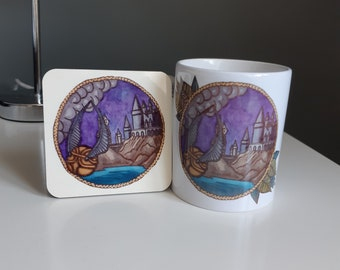 Harry Potter Hogwarts and snitch mug set.