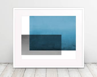 Blue and Gray Color Block Watercolor Print, Fine Art, Modern Art, Geometric, Abstract, Art Prints, Poster, Modernism, Free Shipping