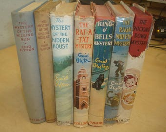 Set of 7 Mystery/Detective Enid Blyton Reprints 5 with Dust Jackets