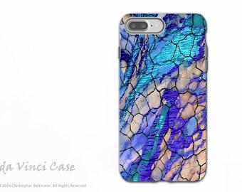 Bleu désert abstrait - artistique iPhone 7 PLUS - 8 PLUS difficile cas - double couche de Protection - désert souvenirs