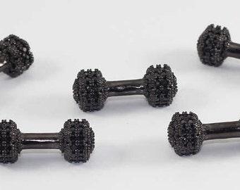 1 Pcs Micro Pave Dumbbell Beads, Gunmetal, Cubic Zirconia, Bracelet Connectors, CZ Space Beads, Cz Pave Dumbbel Beads, MMT6