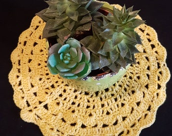 Doily or placemat breakfast cotton majority acrylic light yellow shabby hygge