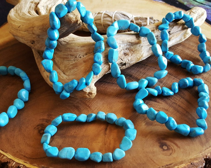 Tumbled Blue Howlite stretchy bracelet ~ 1  Reiki infused gemstone bead bracelet approx 8 inches